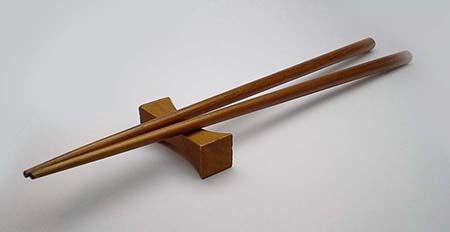 Teak chopsticks and rest set