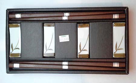 chopstick and rests set leaf pattern